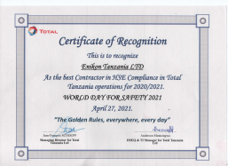 CERTIFICATE OF RECOGNITION - BEST CONTRACTOR IN HSE 2021